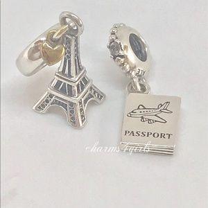Authentic Pandora passport and eiffel tower set 2